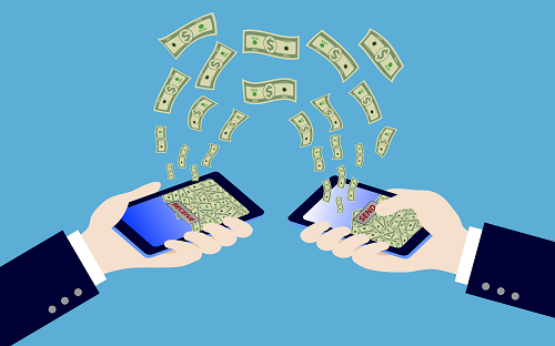 illustration of phones sending cash to each other and hold by hands